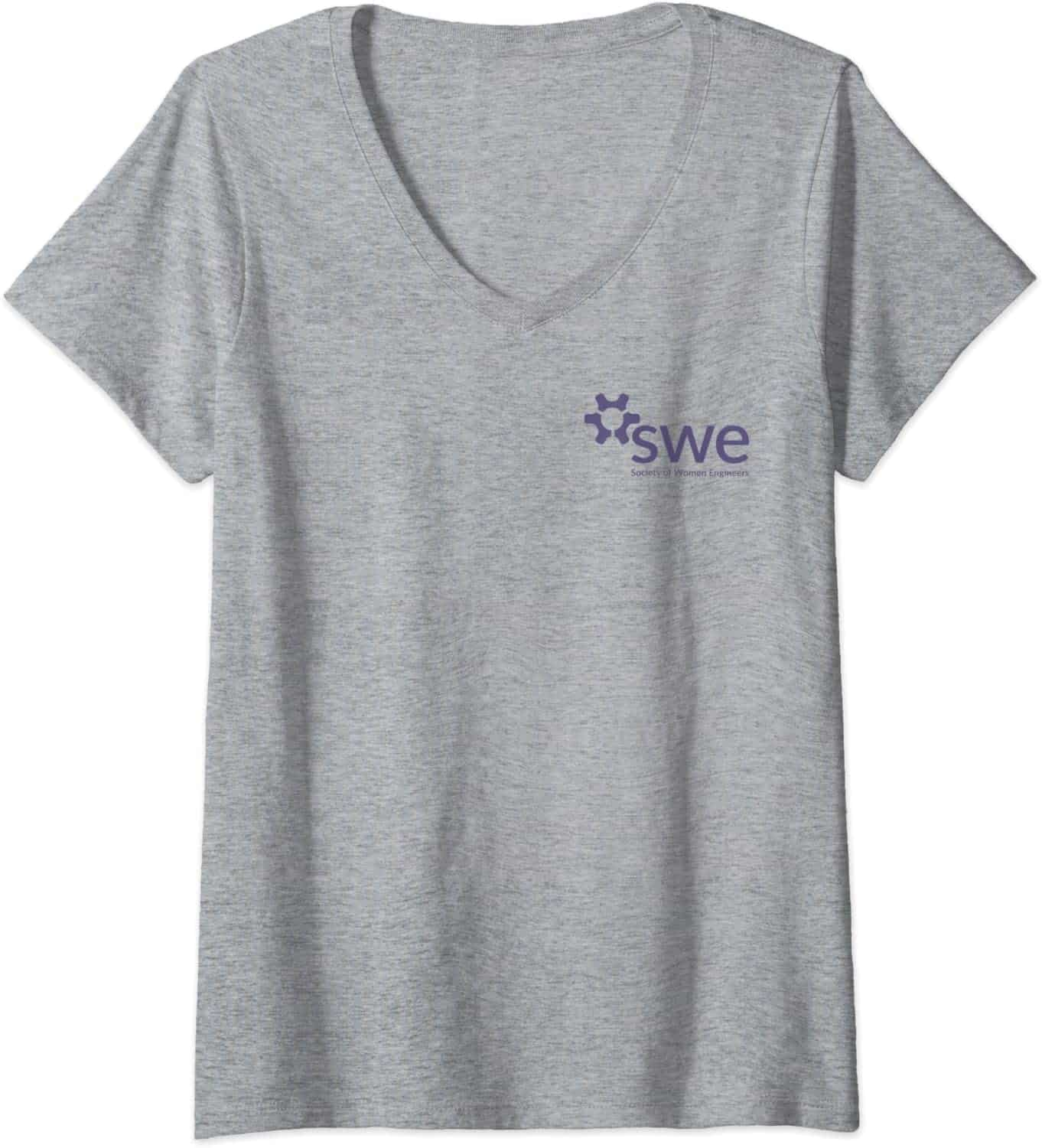Society of Women Engineers - Purple Color Chest Logo - V-neck T-Shirt
