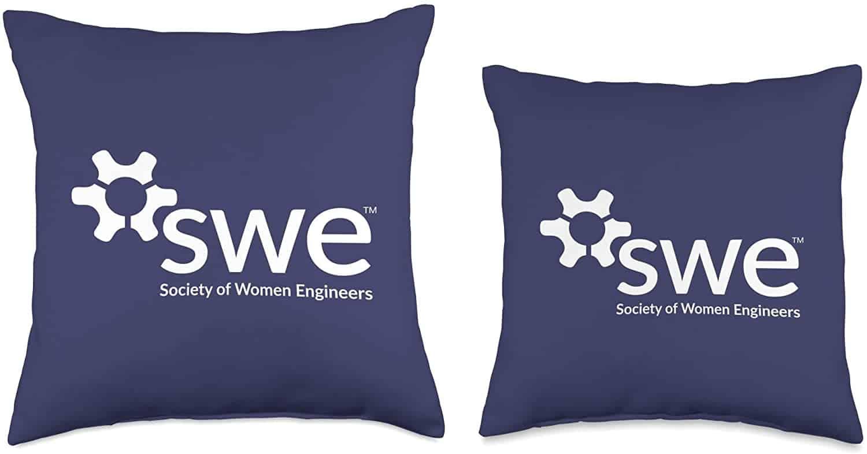 Society of Women Engineers - White Logo - Throw Pillows2