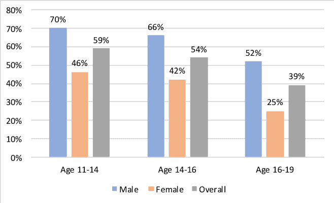 Proportions of young people who would consider a career in engineering, by age group and gender, 2017